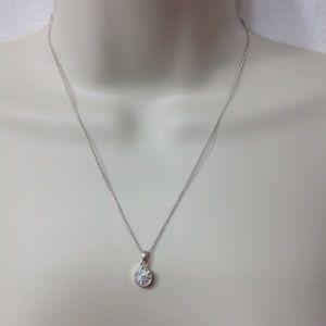 Silver circle gem necklace